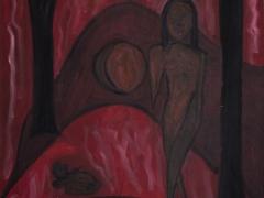 Žena-mesiac-mačka/The Women-The Moon-The Cat(©Peter Gasparik) 2006, oil on canvas 80x100