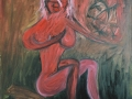 Orol či škorpión/The Eagle or the Scorpio Zaľúbenci a banda žiarlivcov/Lovers and the band of jealous friends (©Peter Gasparik) 2002, oil on canvas, 120x90